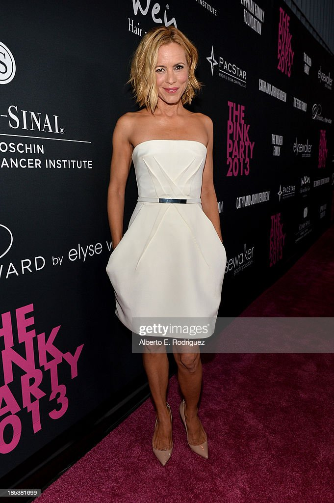 Actress <a gi-track='captionPersonalityLinkClicked' href=/galleries/search?phrase=Maria+Bello&family=editorial&specificpeople=201770 ng-click='$event.stopPropagation()'>Maria Bello</a> attends Elyse Walker Presents The Pink Party 2013 hosted by Anne Hathaway at Barker Hangar on October 19, 2013 in Santa Monica, California.