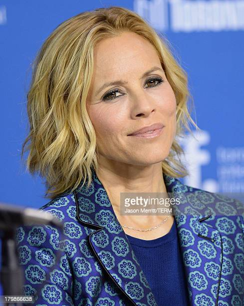 Actress Maria Bello speaks onstage at 'Prisoners' Press Conference during the 2013 Toronto International Film Festival at TIFF Bell Lightbox on...