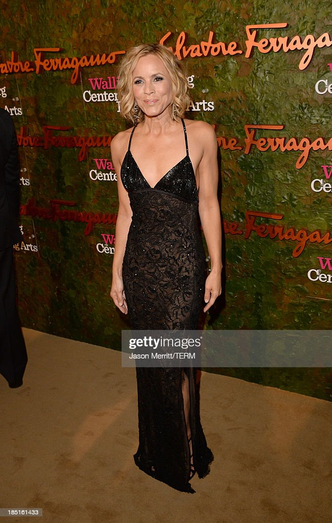 Actress Maria Bello, wearing Ferragamo, arrives at the Wallis Annenberg Center for the Performing Arts Inaugural Gala presented by Salvatore Ferragamo at the Wallis Annenberg Center for the Performing Arts on October 17, 2013 in Beverly Hills, California.