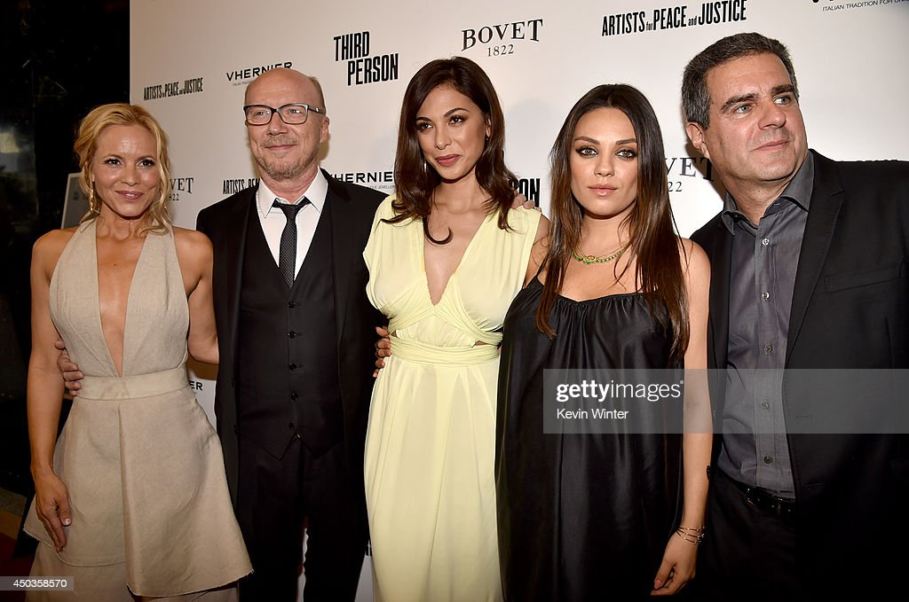 Actress <a gi-track='captionPersonalityLinkClicked' href=/galleries/search?phrase=Maria+Bello&family=editorial&specificpeople=201770 ng-click='$event.stopPropagation()'>Maria Bello</a>, writer/director <a gi-track='captionPersonalityLinkClicked' href=/galleries/search?phrase=Paul+Haggis&family=editorial&specificpeople=213967 ng-click='$event.stopPropagation()'>Paul Haggis</a>, actresses <a gi-track='captionPersonalityLinkClicked' href=/galleries/search?phrase=Moran+Atias&family=editorial&specificpeople=3964520 ng-click='$event.stopPropagation()'>Moran Atias</a>, <a gi-track='captionPersonalityLinkClicked' href=/galleries/search?phrase=Mila+Kunis&family=editorial&specificpeople=212845 ng-click='$event.stopPropagation()'>Mila Kunis</a>, and producer Michael Nozik attend the premiere of Sony Picture Classics' 'Third Person' at Linwood Dunn Theater at the Pickford Center for Motion Study on June 9, 2014 in Hollywood, California.