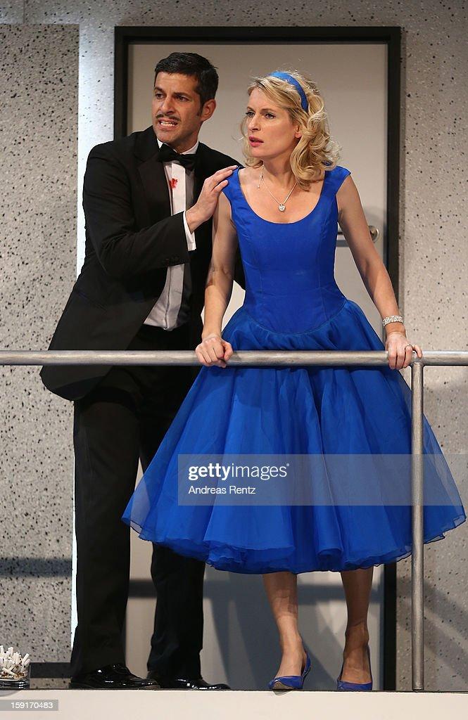 Actress Maria Furtwaengler and actor Pasquale Aleardi perform during the 'Geruechte...Geruechte...' photo rehearsal at Komoedie am Kurfuerstendamm Theater on January 9, 2013 in Berlin, Germany.