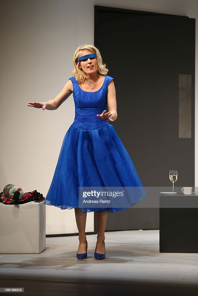 Actress Maria Furtwaengler performs during the 'Geruechte...Geruechte...' photo rehearsal at Komoedie am Kurfuerstendamm Theater on January 9, 2013 in Berlin, Germany.