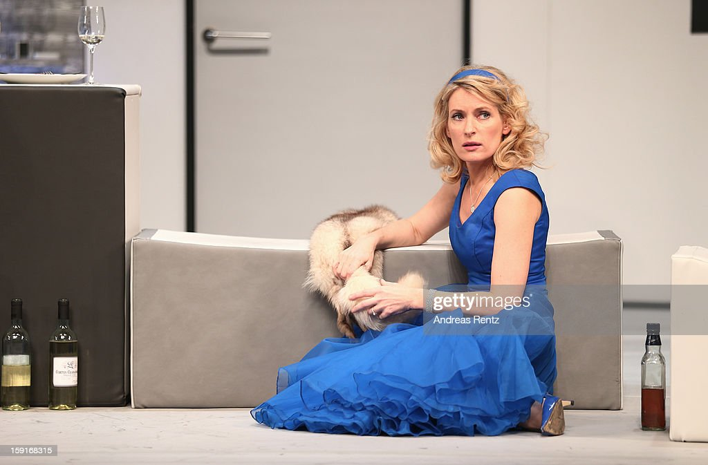Actress Maria Furtwaengler performs during the 'Geruechte...Geruechte...' photo rehearsal at Komoedie am Kurfuerstendamm Theater on January 9, 2013 in Berlin, Germany.
