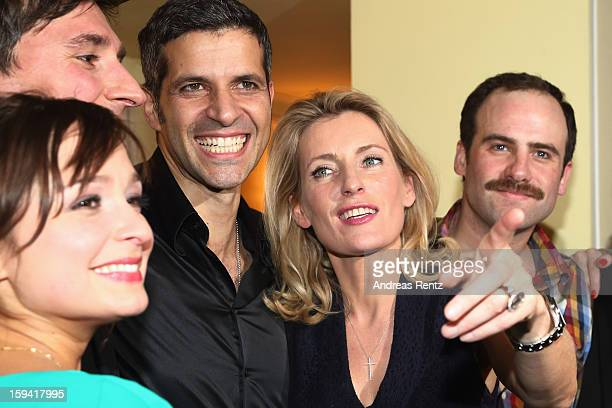 Actress Maria Furtwaengler smiles with her team members Pasquale Aleardi and Urs Staempfli after the 'GeruechteGeruechte' premiere at Theater am...