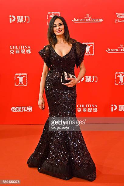 Actress Maria Grazia Cucinotta arrives for the red carpet of the 19th Shanghai International Film Festival at Shanghai Grand Theatre on June 11 2016...