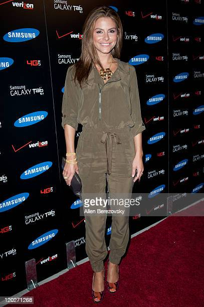 Actress Maria Menounos arrives at the Samsung Galaxy Tab 101 launch party at The Beverly on August 2 2011 in Los Angeles California