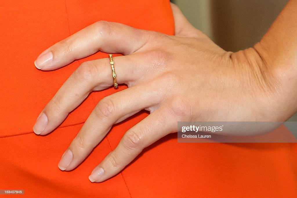 Actress <a gi-track='captionPersonalityLinkClicked' href=/galleries/search?phrase=Maria+Menounos&family=editorial&specificpeople=203337 ng-click='$event.stopPropagation()'>Maria Menounos</a> (ring detail) attends the launch of Dunkin' Donuts K-Cups at Baskin-Robbins on October 4, 2012 in Burbank, California.