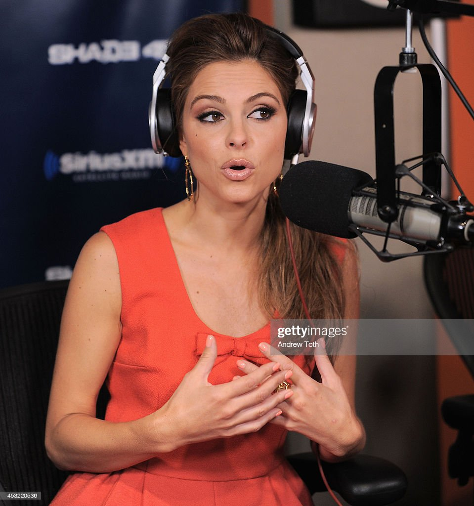 Actress <a gi-track='captionPersonalityLinkClicked' href=/galleries/search?phrase=Maria+Menounos&family=editorial&specificpeople=203337 ng-click='$event.stopPropagation()'>Maria Menounos</a> visits 'Shade45' with Sway Calloway at SiriusXM Studios on August 5, 2014 in New York City.