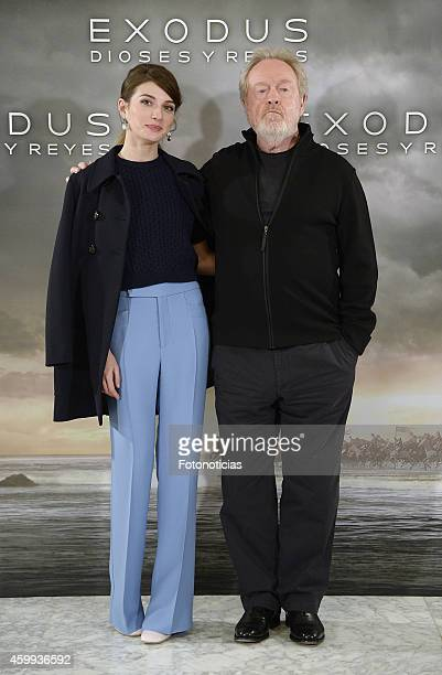 Actress Maria Valverde and director Ridley Scott attend the 'Exodus Gods And Kings' photocall at Villamagna Hotel on December 4 2014 in Madrid Spain