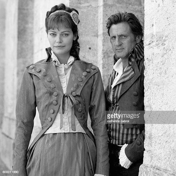Actress Marianne Denicourt and Daniel Auteuil on the movie set of 'Sade' directed by Benoît Jacquot.