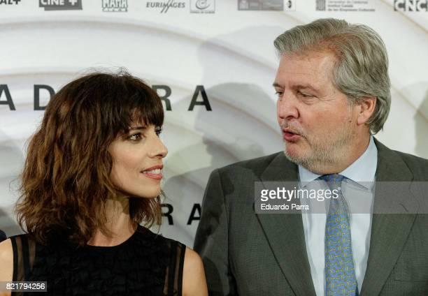 Actress Maribel Verdu and Minister of Culture Inigo Mendez de Vigo attend the 'Abracadabra' premiere at Palacio de la Prensa cinema on July 24 2017...
