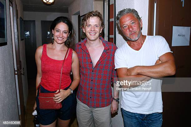 Actress Marie Gillain Humorist Alex Lutz and Actor Nicolas Briancon pose Backstage after the Alex Lutz Show during the 31th Ramatuelle Festival Day 8...