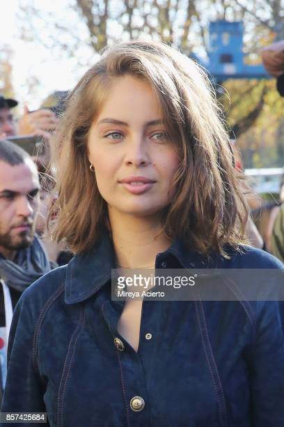 Actress MarieAnge Casta attends the Chanel show as part of the Paris Fashion Week Womenswear Spring/Summer 2018 on October 3 2017 in Paris France