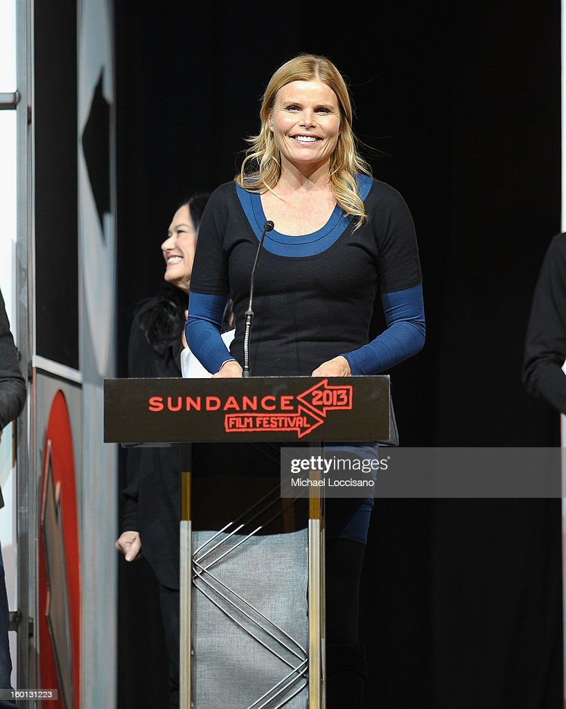 Actress <a gi-track='captionPersonalityLinkClicked' href=/galleries/search?phrase=Mariel+Hemingway&family=editorial&specificpeople=212955 ng-click='$event.stopPropagation()'>Mariel Hemingway</a> speaks at the Awards Night Ceremony during the 2013 Sundance Film Festival at Basin Recreation Field House on January 26, 2013 in Park City, Utah.