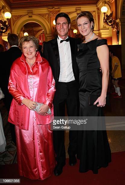 Actress MarieLuise Marjan alpine skier Maria Riesch and her husband Marcus Riesch attend the Sportpresseball 2010 at Alte Oper on November 6 2010 in...