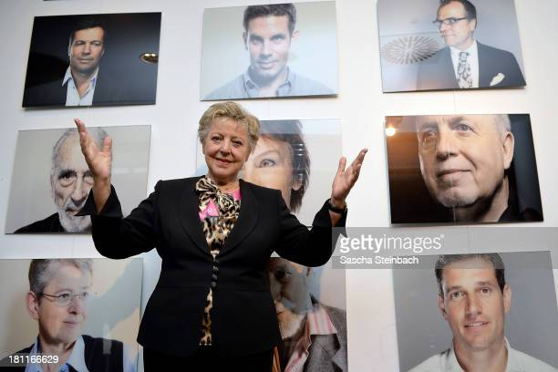 Actress MarieLuise Marjan poses during the presentation of the book 'Genuss Ansichten' as part of the celebrations to mark the 325th anniversary of...