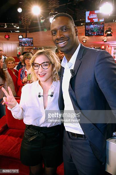 Actress Marilou Berry and Main guest of the show Actor Omar Sy attend the 'Vivement Dimanche' French TV Show at Pavillon Gabriel on January 20 2016...
