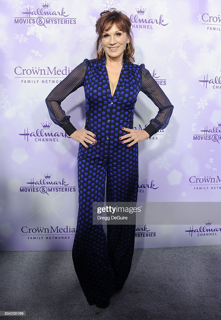 Actress Marilu Henner arrives at the Hallmark Channel and Hallmark Movies and Mysteries Winter 2016 TCA Press Tour at Tournament House on January 8, 2016 in Pasadena, California.