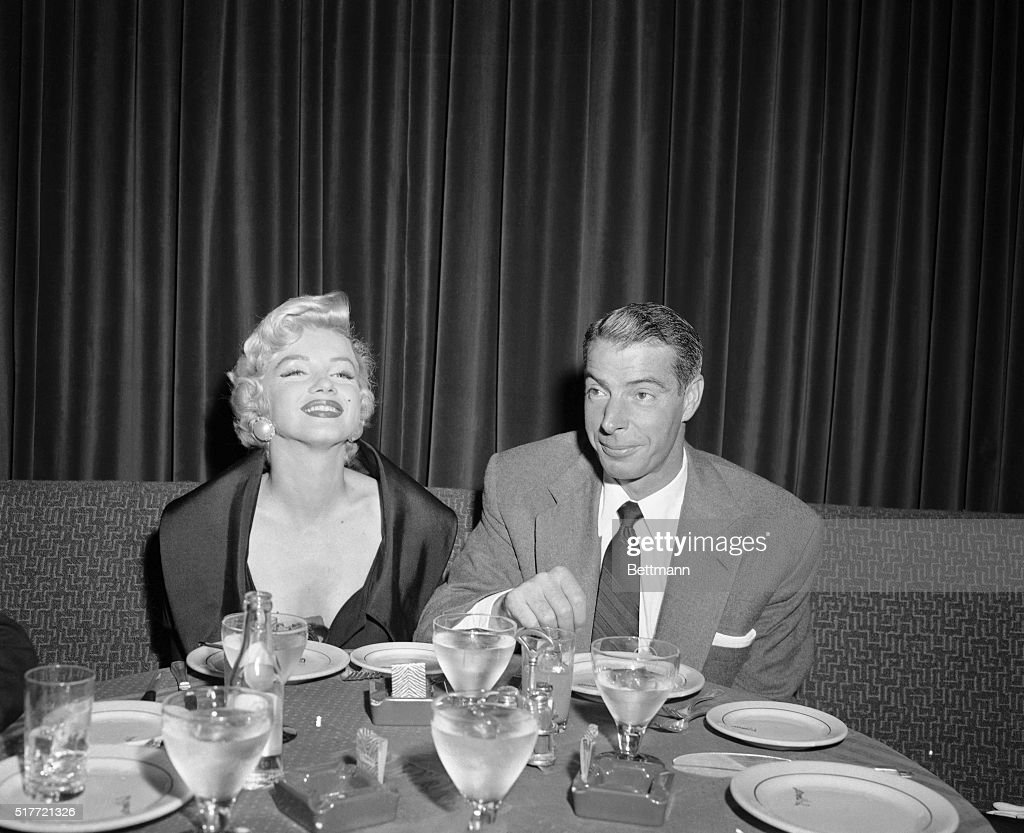 Actress <a gi-track='captionPersonalityLinkClicked' href=/galleries/search?phrase=Marilyn+Monroe&family=editorial&specificpeople=70021 ng-click='$event.stopPropagation()'>Marilyn Monroe</a> and her husband <a gi-track='captionPersonalityLinkClicked' href=/galleries/search?phrase=Joe+DiMaggio&family=editorial&specificpeople=93596 ng-click='$event.stopPropagation()'>Joe DiMaggio</a> are show at El Morocco having dinner together this evening. Marilyn came to New York to shoot a couple of scenes for a movie and planned to fly back to Hollywood, when Hurricane Edna interfered. Former Yankee star DiMaggio flew into New York today to spend the weekend with his wife.