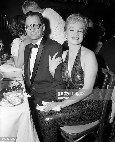 Actress Marilyn Monroe and playwright Arthur Miller attending the April in Paris ball at the WaldorfAstoria which benefits the French Hospital and...