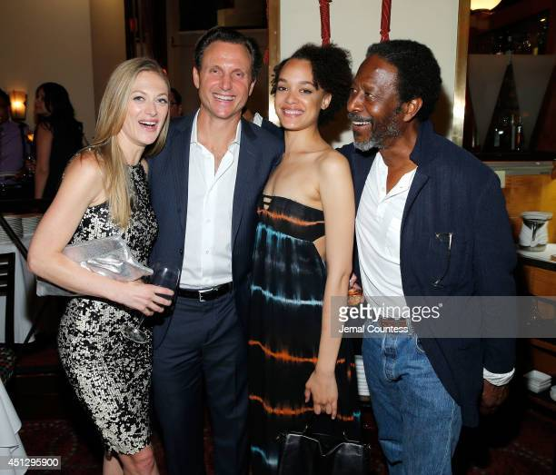 Actress Marin Ireland series creator/director Tony Goldwyn actress Britne Oldford and actor Clarke Peters attend 'The Divide' series premiere after...