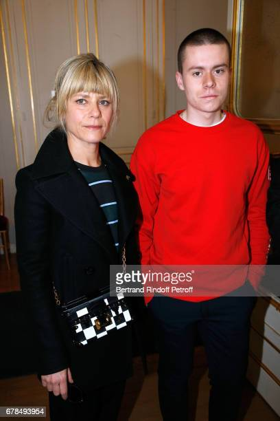 Actress Marina Fois and actor Matthieu Lucci attend Audrey Azoulay French Minister of Culture and Communication hosts a Reception for selected French...