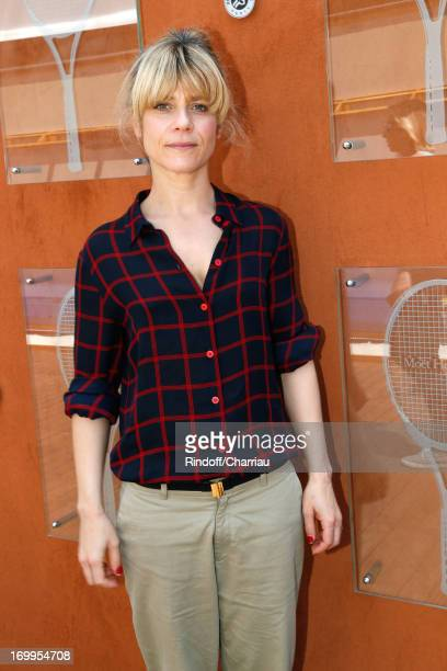 Actress Marina Fois sighting at Roland Garros Tennis French Open 2013 Day 11 on June 5 2013 in Paris France