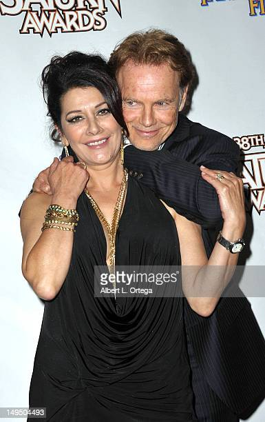 Actress Marina Sirtis and actor Bruce Greenwood at the 38th Annual Saturn Awards inside the press room held at Castaways on July 26 2012 in Burbank...