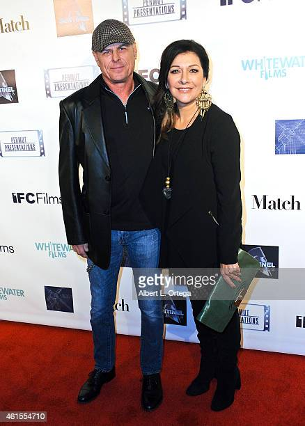 Actress Marina Sirtis and musician/husband Michael Lampert arrive for the Premiere Of 'Match' held at Laemmle Music Hall on January 14 2015 in...