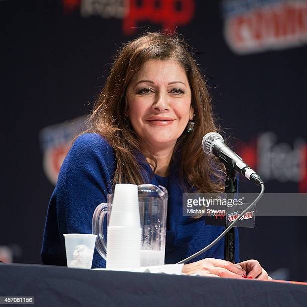 Actress Marina Sirtis attends the Patrick Stewart Spotlight panel at 2014 New York Comic Con Day 3 at Jacob Javitz Center on October 11 2014 in New...