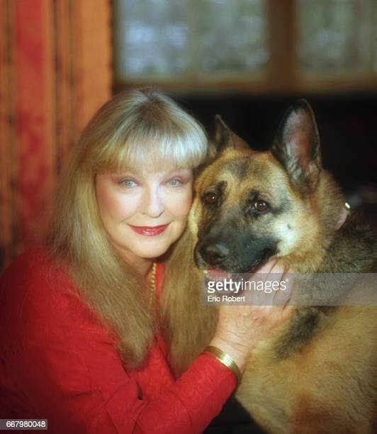 Actress Marina Vlady Hugging Her Pet German Shepherd