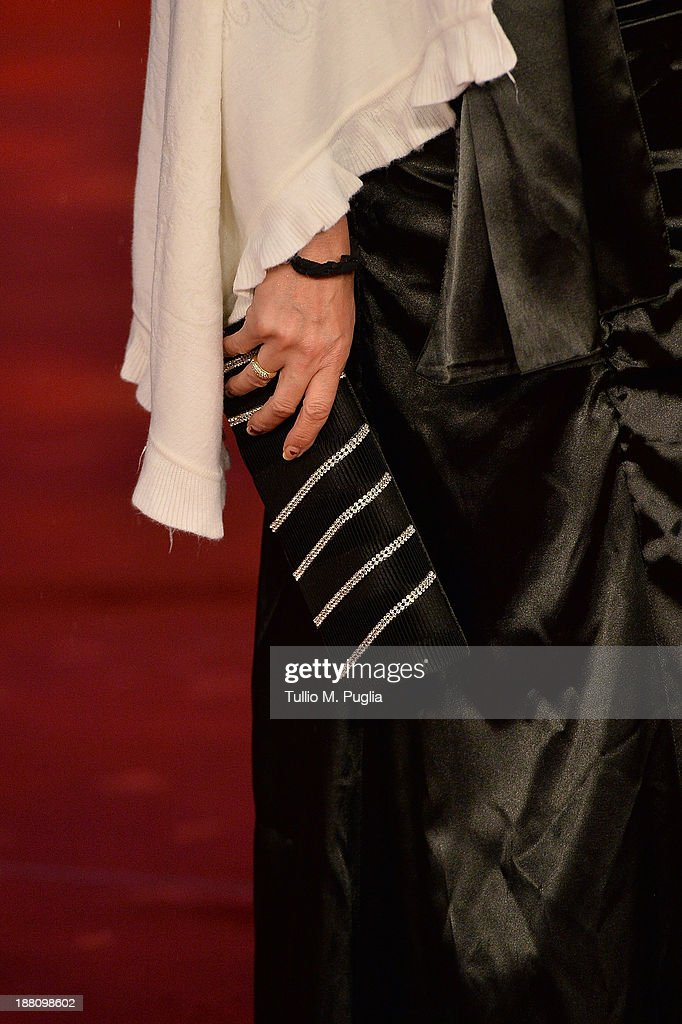 Actress Marioara Dadiloveanu (bag detail) attends the 'Fuoristrada' Premiere during The 8th Rome Film Festival at Auditorium Parco Della Musica on November 15, 2013 in Rome, Italy.