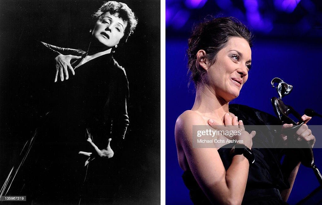 In this composite image a comparison has been made between Edith Piaf (L) and Actress <a gi-track='captionPersonalityLinkClicked' href=/galleries/search?phrase=Marion+Cotillard&family=editorial&specificpeople=215303 ng-click='$event.stopPropagation()'>Marion Cotillard</a>. Oscar hype begins this week with the announcement of the nominations for the 69th annual Golden Globes and the 18th Annual Screen Actors Guild Awards. Luise Rainer became the first actress to receive an Academy Award for her role in the 1936 biopic 'The Great Ziegfeld,' playing stage performer Anna Held. Over half of the last ten Oscars for best actor or actress have been for performances in a biopic. The trend continues this year with the nominations for actors Michelle Williams, Meryl Streep, Viggo Mortensen, Brad Pitt and Leonardo DiCaprio for their roles in 'My Week With Marilyn.' 'The Iron Lady,' 'A Dangerous Method,' 'Moneyball' and 'J Edgar.' PALM SPRINGS, CA - JANUARY 05: Actress <a gi-track='captionPersonalityLinkClicked' href=/galleries/search?phrase=Marion+Cotillard&family=editorial&specificpeople=215303 ng-click='$event.stopPropagation()'>Marion Cotillard</a> accepts the Desert Palm Achievement award onstage at the 2010 Palm Springs International Film Festival gala held at the Palm Springs Convention Center on January 5, 2010 in Palm Springs, California.