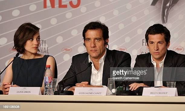 Actress Marion Cotillard actor Clive Owen and director Guillaume Canet attend the press conference for 'Blood Ties' during The 66th Annual Cannes...