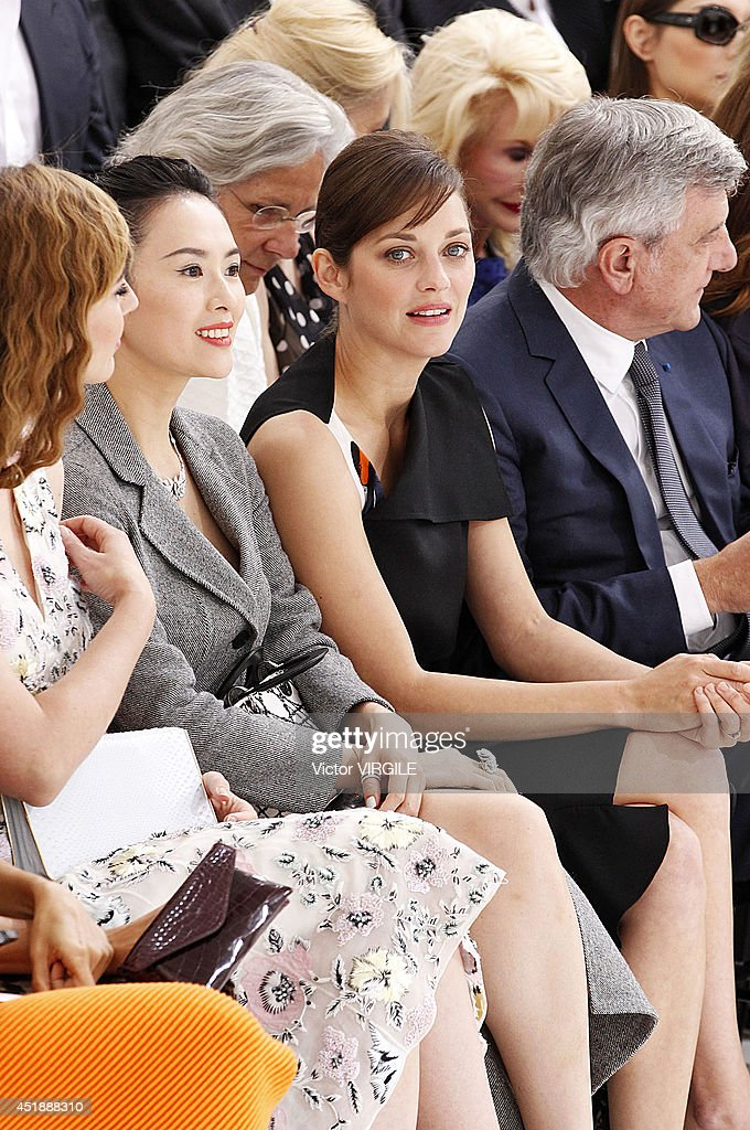 Actress Marion Cotillard and CEO Dior Sidney Toledano attend the Christian Dior show as part of Paris Fashion Week - Haute Couture Fall/Winter 2014-2015 at Muse Rodin on July 7, 2014 in Paris, France.
