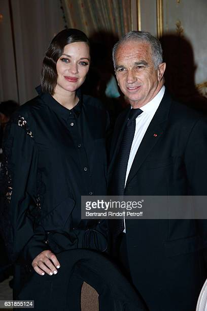 Actress Marion Cotillard and President of Academy des Cesars Alain Terzian attend the 'Cesar Revelations 2017' Dinner at Hotel Meurice on January 16...