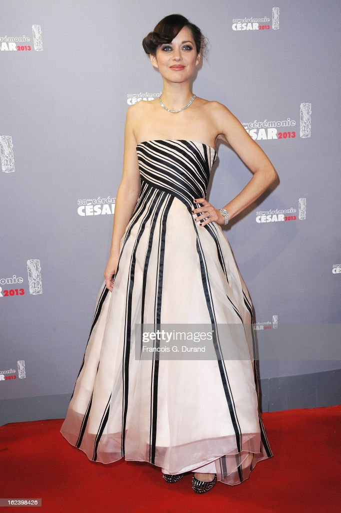 Actress <a gi-track='captionPersonalityLinkClicked' href=/galleries/search?phrase=Marion+Cotillard&family=editorial&specificpeople=215303 ng-click='$event.stopPropagation()'>Marion Cotillard</a> arrives at Cesar Film Awards 2013 at Theatre du Chatelet on February 22, 2013 in Paris, France.