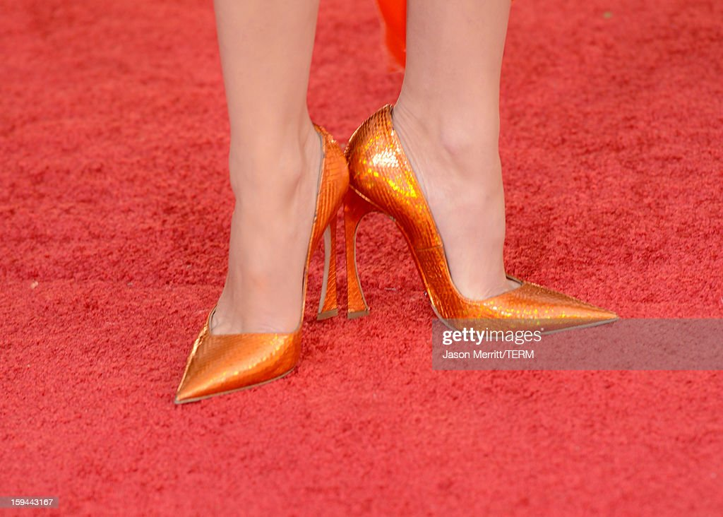 Actress Marion Cotillard (shoe detail) arrives at the 70th Annual Golden Globe Awards held at The Beverly Hilton Hotel on January 13, 2013 in Beverly Hills, California.