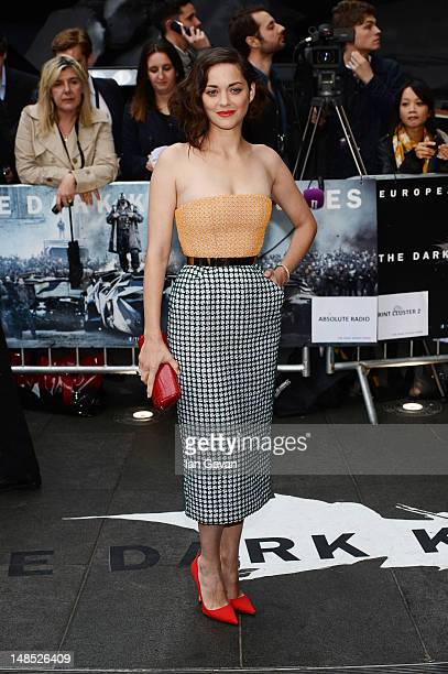 Actress Marion Cotillard attends European premiere of 'The Dark Knight Rises' at Odeon Leicester Square on July 18 2012 in London England