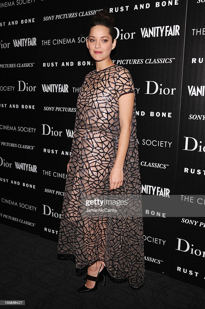 Actress Marion Cotillard attends The Cinema Society with Dior & Vanity Fair screening of 'Rust and Bone' at Landmark's Sunshine Cinema on November 8, 2012 in New York City.