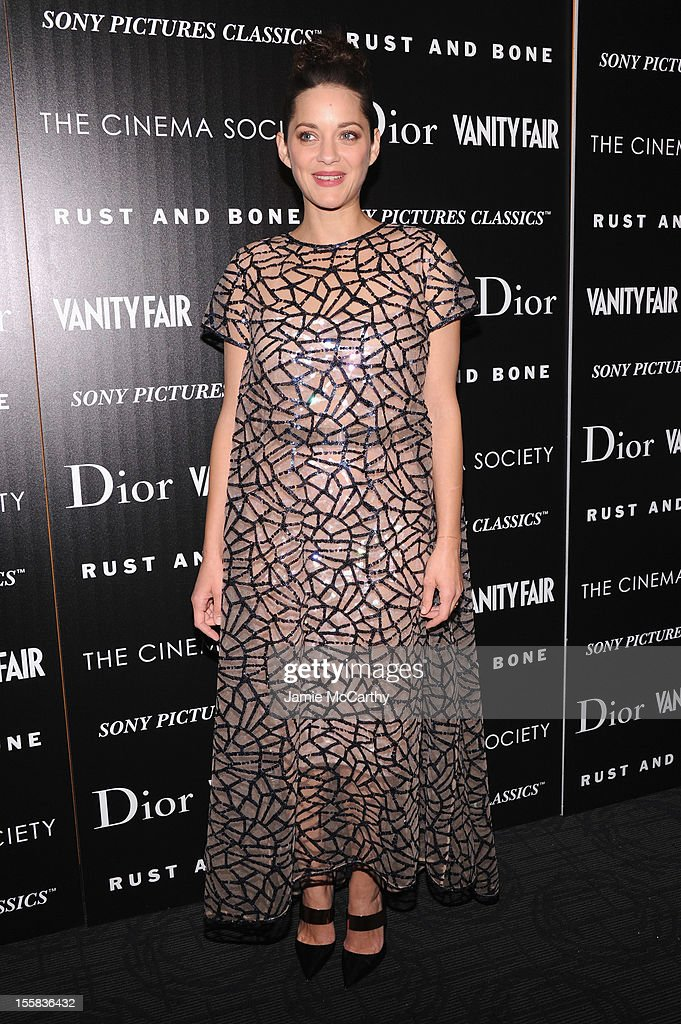 Actress <a gi-track='captionPersonalityLinkClicked' href=/galleries/search?phrase=Marion+Cotillard&family=editorial&specificpeople=215303 ng-click='$event.stopPropagation()'>Marion Cotillard</a> attends The Cinema Society with Dior & Vanity Fair screening of 'Rust and Bone' at Landmark's Sunshine Cinema on November 8, 2012 in New York City.