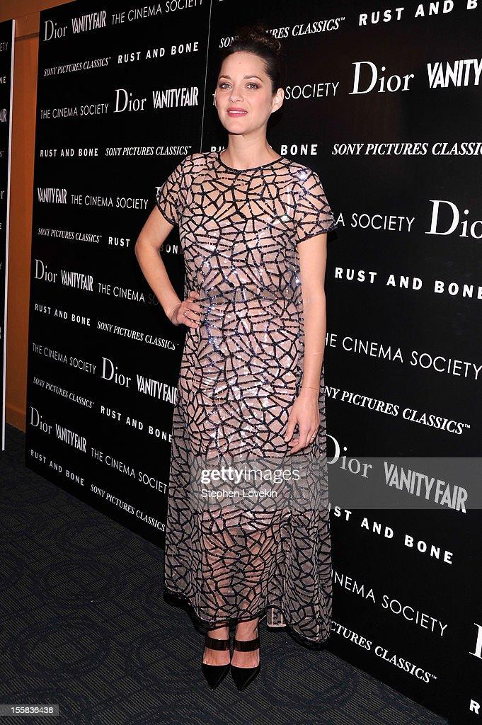 Actress Marion Cotillard attends The Cinema Society with Dior & Vanity Fair screening of 'Rust And Bone' at Landmark Sunshine Cinema on November 8, 2012 in New York City.