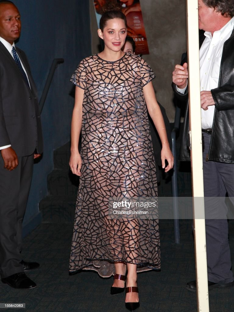 Actress Marion Cotillard attends The Cinema Society with Dior & Vanity Fair host a screening of 'Rust and Bone' at Landmark Sunshine Cinema on November 8, 2012 in New York City.