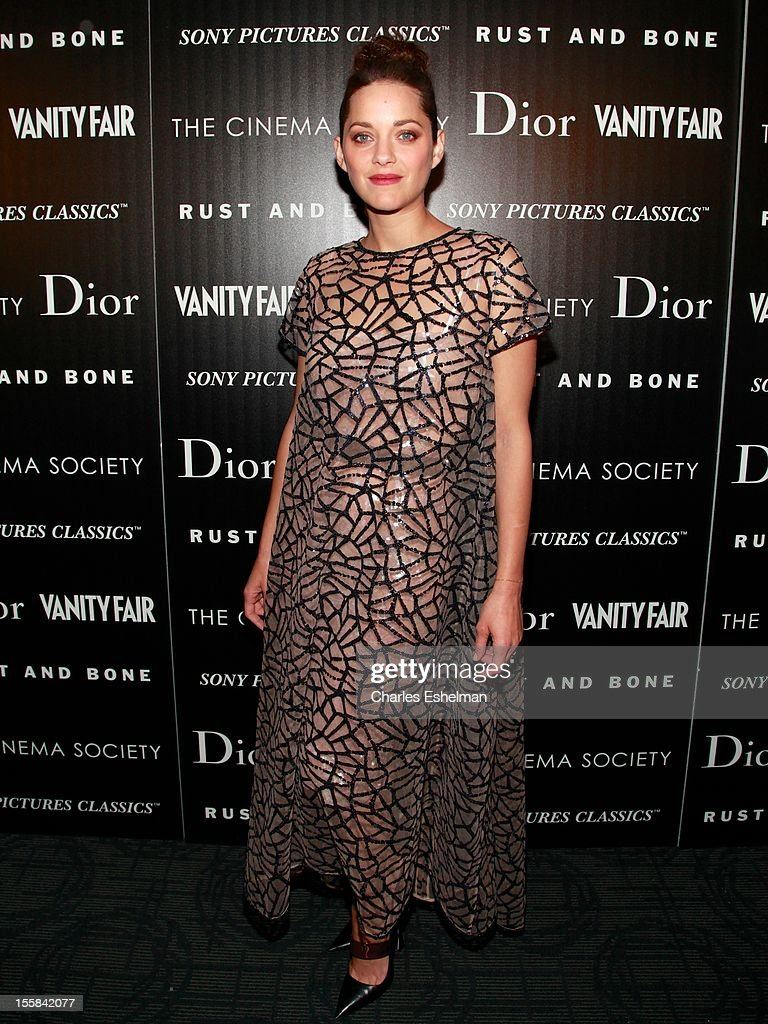 Actress <a gi-track='captionPersonalityLinkClicked' href=/galleries/search?phrase=Marion+Cotillard&family=editorial&specificpeople=215303 ng-click='$event.stopPropagation()'>Marion Cotillard</a> attends The Cinema Society with Dior & Vanity Fair host a screening of 'Rust and Bone' at Landmark Sunshine Cinema on November 8, 2012 in New York City.