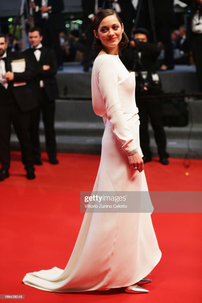 Actress <a gi-track='captionPersonalityLinkClicked' href=/galleries/search?phrase=Marion+Cotillard&family=editorial&specificpeople=215303 ng-click='$event.stopPropagation()'>Marion Cotillard</a> attends 'The Immigrant' Premiere during the 66th Annual Cannes Film Festival at Grand Theatre Lumiere on May 24, 2013 in Cannes, France.