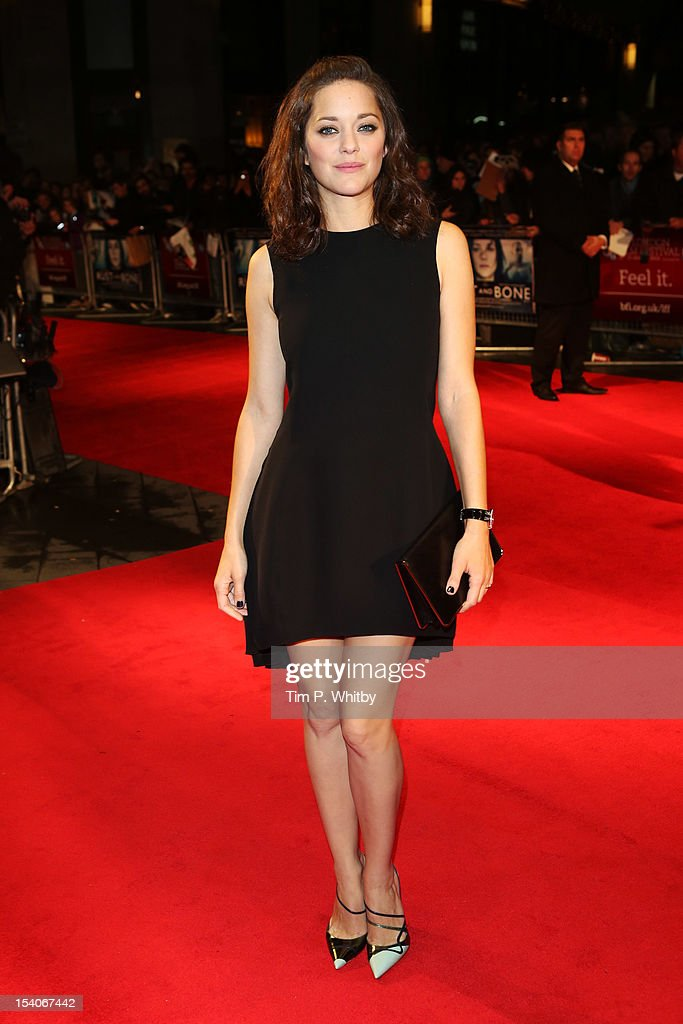 Actress <a gi-track='captionPersonalityLinkClicked' href=/galleries/search?phrase=Marion+Cotillard&family=editorial&specificpeople=215303 ng-click='$event.stopPropagation()'>Marion Cotillard</a> attends the premiere of 'Rust and Bone' during the 56th BFI London Film Festival at Odeon West End on October 13, 2012 in London, England.