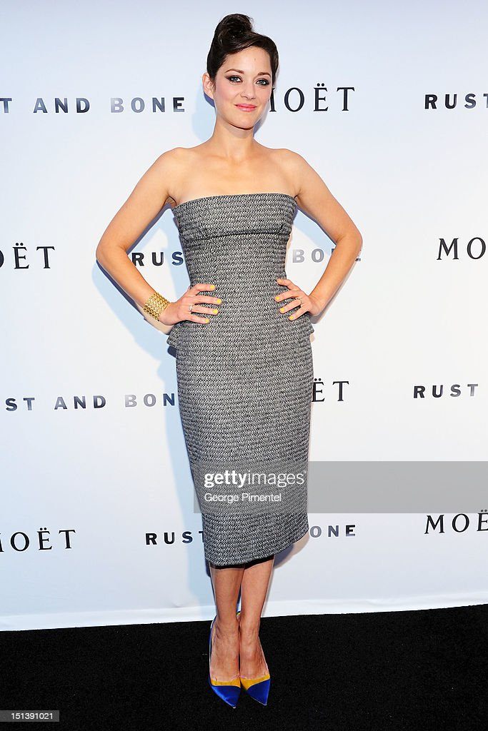 Actress <a gi-track='captionPersonalityLinkClicked' href=/galleries/search?phrase=Marion+Cotillard&family=editorial&specificpeople=215303 ng-click='$event.stopPropagation()'>Marion Cotillard</a> attends the 'Rust & Bone' Dinner Party during the 2012 Toronto International Film Festival on September 6, 2012 in Toronto, Canada.