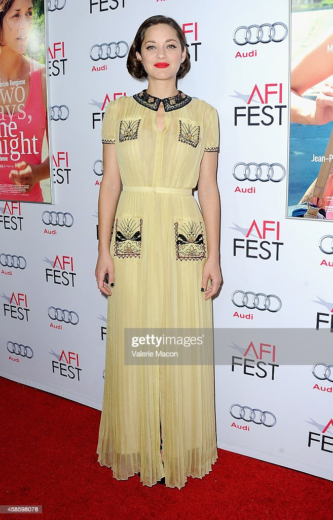 Actress Marion Cotillard attends the screening of 'Two Days, One Night' during AFI FEST 2014 presented by Audi at the Egyptian Theatre on November 7, 2014 in Hollywood, California.