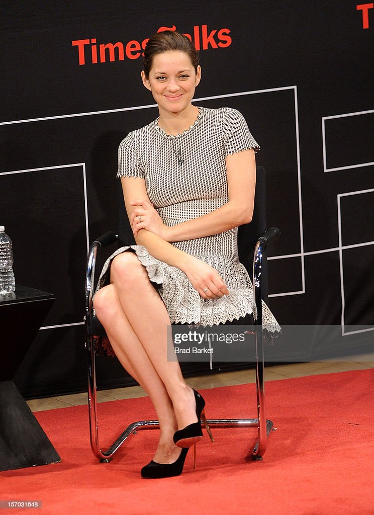 Actress Marion Cotillard attends TimesTalk presents an evening with Marion Cotillard, Matt Damon and Gus Van Sant at TheTimesCenter on November 27, 2012 in New York City.