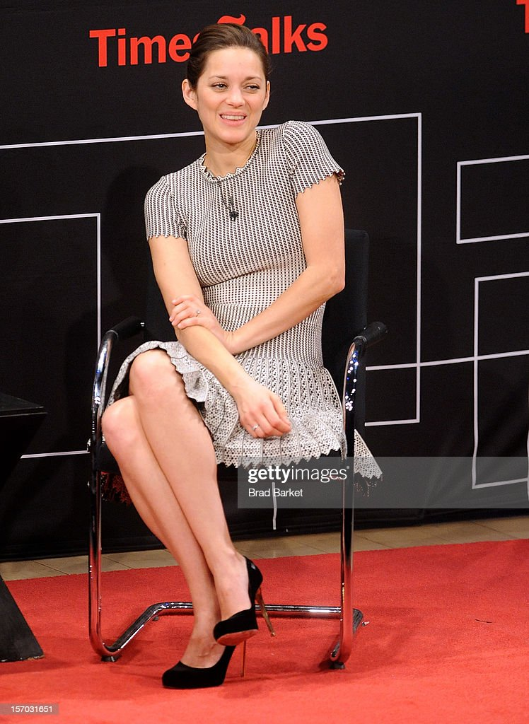 Actress <a gi-track='captionPersonalityLinkClicked' href=/galleries/search?phrase=Marion+Cotillard&family=editorial&specificpeople=215303 ng-click='$event.stopPropagation()'>Marion Cotillard</a> attends TimesTalk presents an evening with <a gi-track='captionPersonalityLinkClicked' href=/galleries/search?phrase=Marion+Cotillard&family=editorial&specificpeople=215303 ng-click='$event.stopPropagation()'>Marion Cotillard</a>, Matt Damon and Gus Van Sant at TheTimesCenter on November 27, 2012 in New York City.